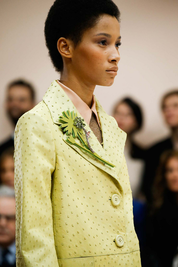 Lineisy Montero stole the show at Prada with her short Afro adorned with a bejeweled barrette